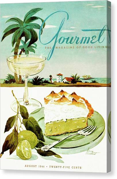Champagne Canvas Print - Lime Meringue Pie With Champagne by Henry Stahlhut
