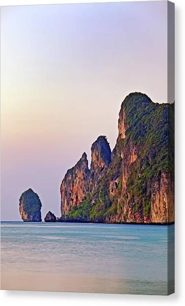Phi Phi Island Canvas Print - Limestone Karsts, Koh Phi Phi Don by John W Banagan