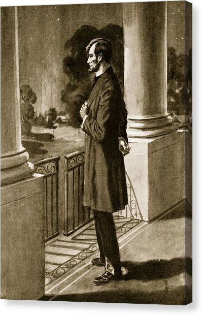 Republican Politicians Canvas Print - Lincoln Looks Out From The White House by American School