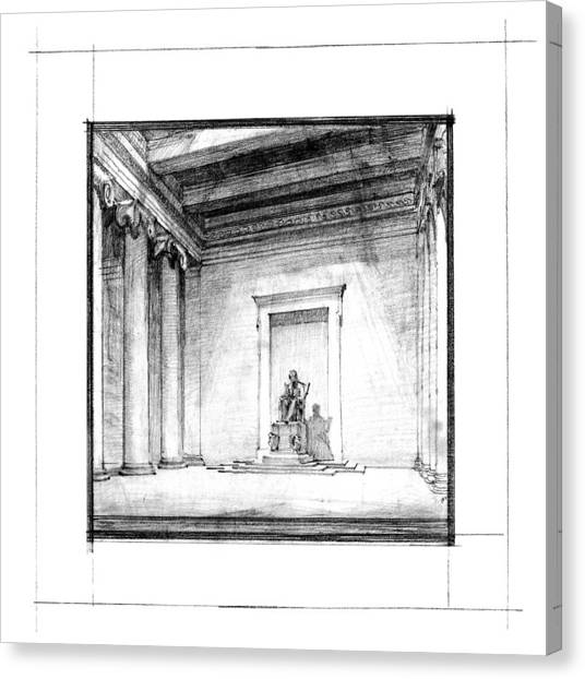 Lincoln Memorial Canvas Print - Lincoln Memorial Sketch IIi by Gary Bodnar