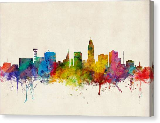 Nebraska Canvas Print - Lincoln Nebraska Skyline by Michael Tompsett