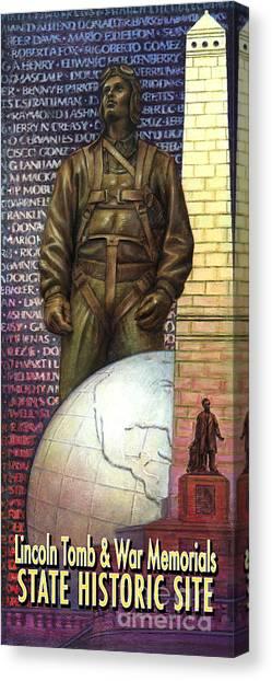 Lincoln Tomb And War Memorials Street Banners Korean War Pilot Canvas Print