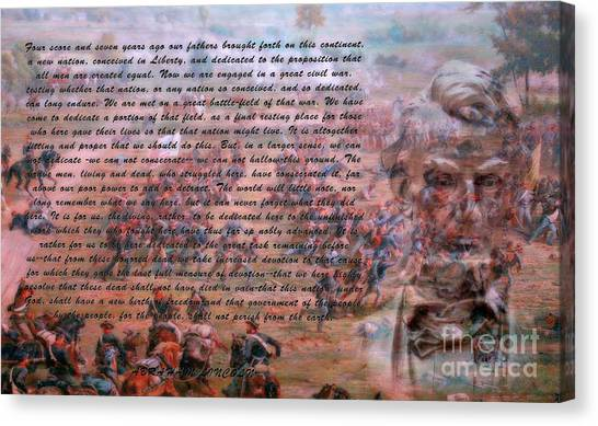 Army Of The Potomac Canvas Print - Lincoln's Gettysburg Address by Randy Steele