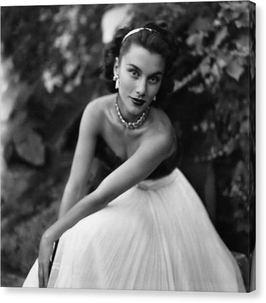 Linda Christian Wearing A Ball Gown Canvas Print by Clifford Coffin