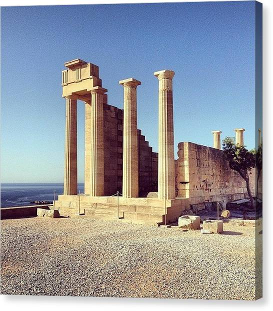 The Acropolis Canvas Print - #lindos #acropolis #rhodes by Mark Harris