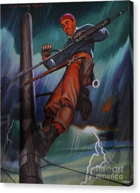 Lineman In Storm Canvas Print