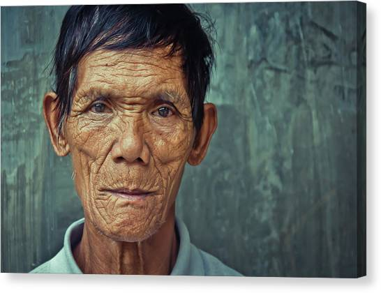 Old Man Canvas Print - Lines  Full Of Expression by Ron Stollman