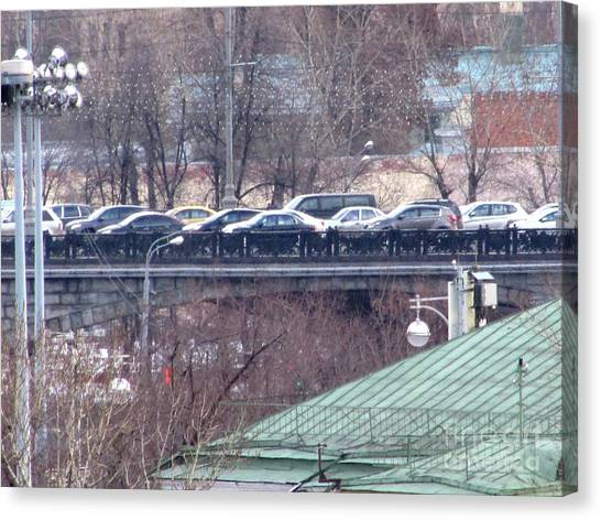 Moscow Skyline Canvas Print - Lining Up by Anna Yurasovsky