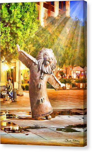 Lion Fountain Canvas Print