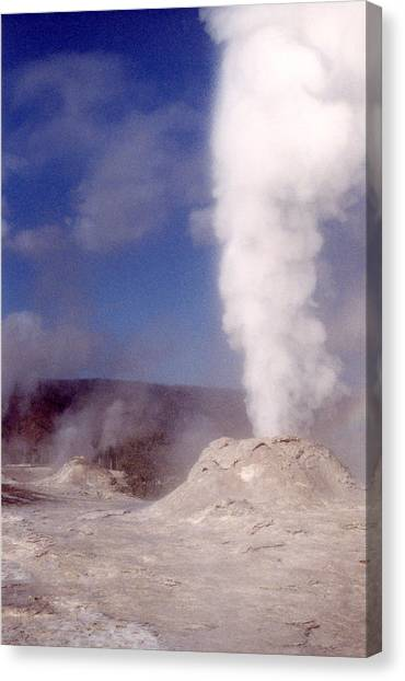 Lion Geyser In Full Vent Mode Canvas Print by Mary Bedy