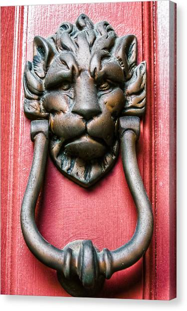 Lion Head Door Knocker Canvas Print