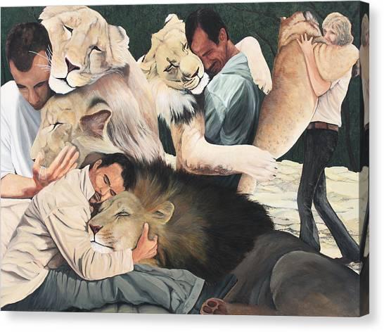 Lion Hugs Canvas Print