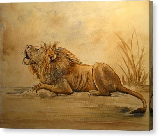 Watercolor Pet Portraits Canvas Print - Lion by Juan  Bosco