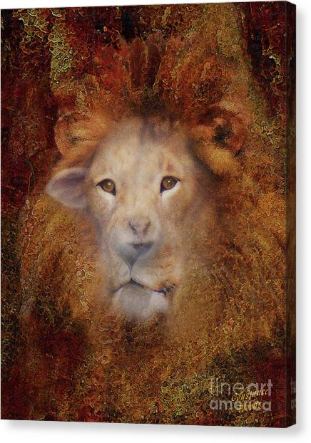 Imagery Canvas Print - Lion Lamb Face by Constance Woods