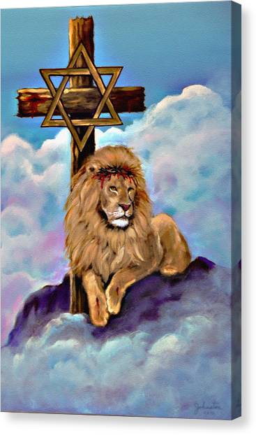 Lion Of Judah At The Cross Canvas Print