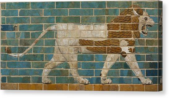 Ceramic Glazes Canvas Print - Lion Relief From The Processional Way In Babylon by Babylonian