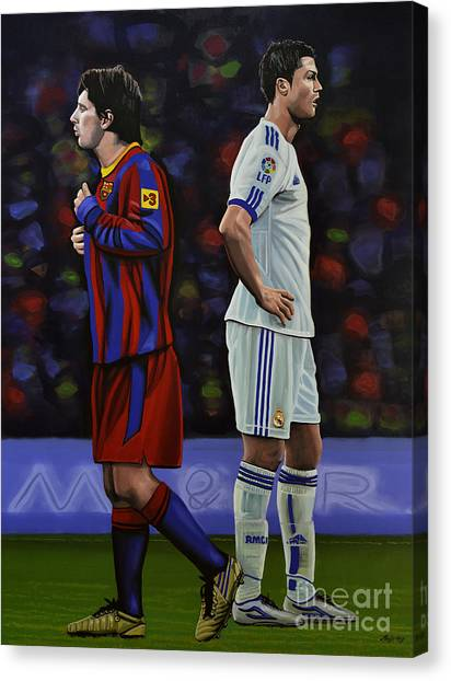 Lionel Messi Canvas Print - Lionel Messi And Cristiano Ronaldo by Paul Meijering