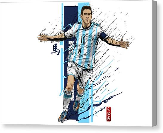 Diego Maradona Canvas Print - Lionel Messi Argentina World Cup by Akyanyme