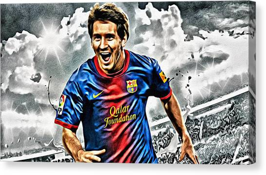 Lionel Messi Canvas Print - Lionel Messi Celebration Poster by Florian Rodarte