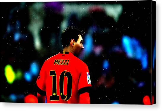 Diego Maradona Canvas Print - Lionel Messi Ready To Go by Brian Reaves