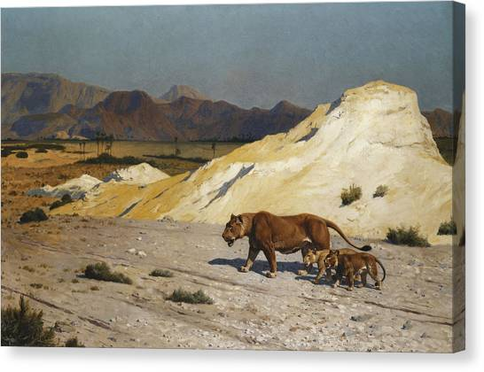 Academic Art Canvas Print - Lioness And Cubs by Jean Leon Gerome