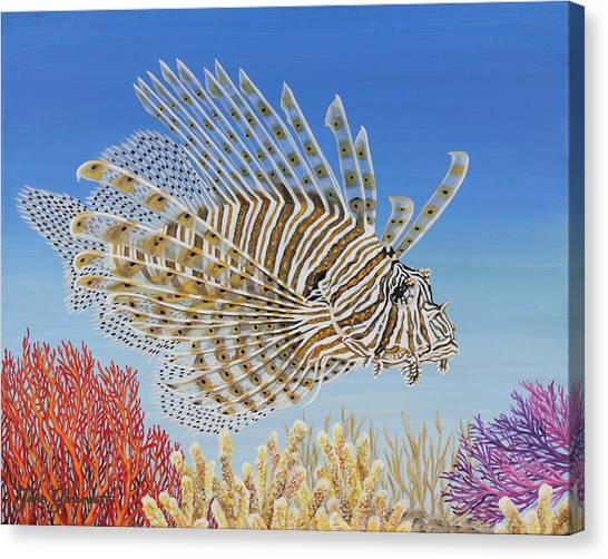 Lionfish And Coral Canvas Print