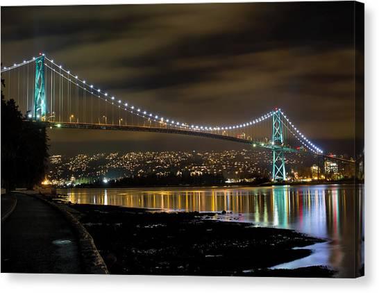 Lions Gate Bridge At Night Canvas Print