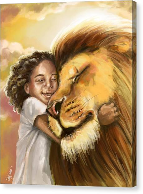 Prophetic Art Canvas Print - Lion's Kiss by Tamer and Cindy Elsharouni