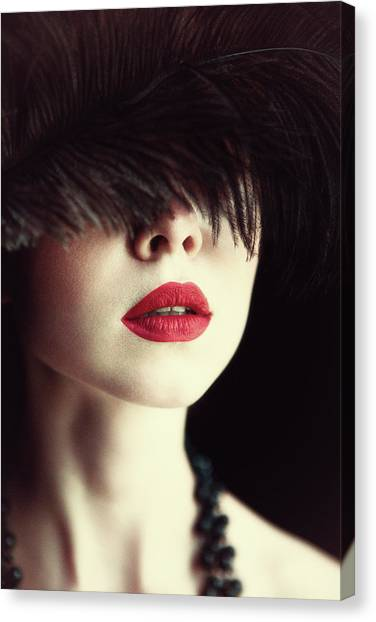 Necklace Canvas Print - Lips And Feather by Magdalena Russocka