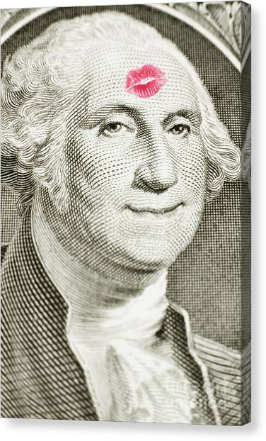 Canvas Print featuring the photograph Lipstick Kiss On One Dollar Bill by Bryan Mullennix