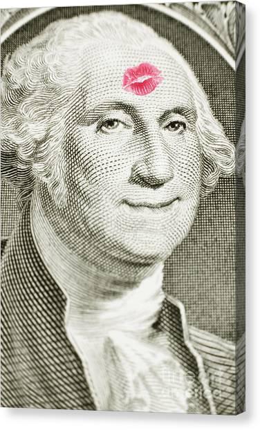 Lipstick Kiss On One Dollar Bill Canvas Print