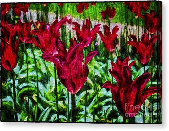 Lipstick Tulips Canvas Print