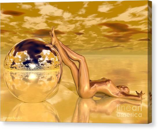 Liquid Gold Canvas Print by Sandra Bauser Digital Art