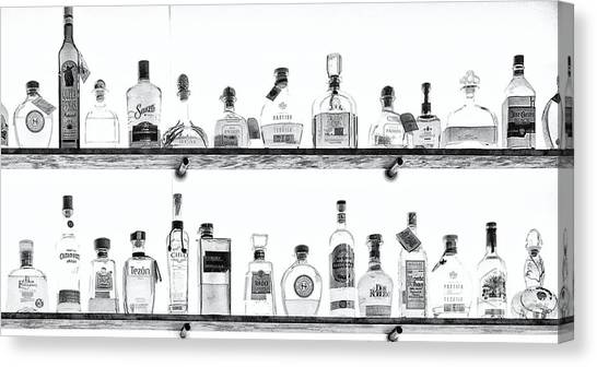 Liquor Bottles - Black And White Canvas Print