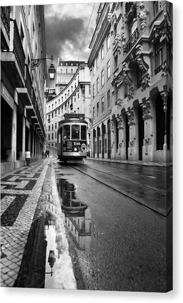 Light Rail Canvas Print - Lisbon by Jorge Maia