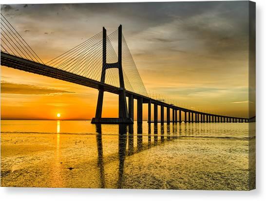 Lisbon Sunrise Canvas Print by Michael Abid