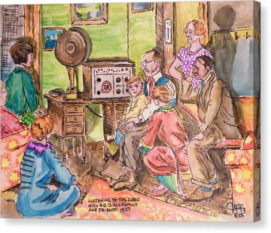 Listening To The Radio Canvas Print