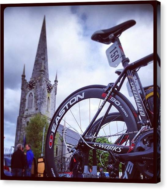 Saddles Canvas Print - #listowel #kerry #ireland #bicycle by Tommy Fitzgerald