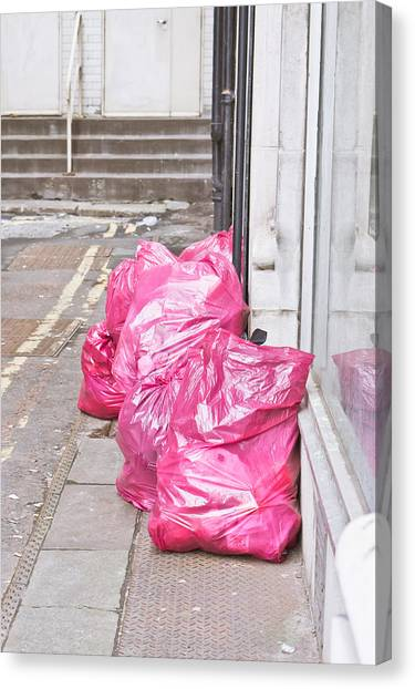 Rubbish Bin Canvas Print - Litter Bags by Tom Gowanlock