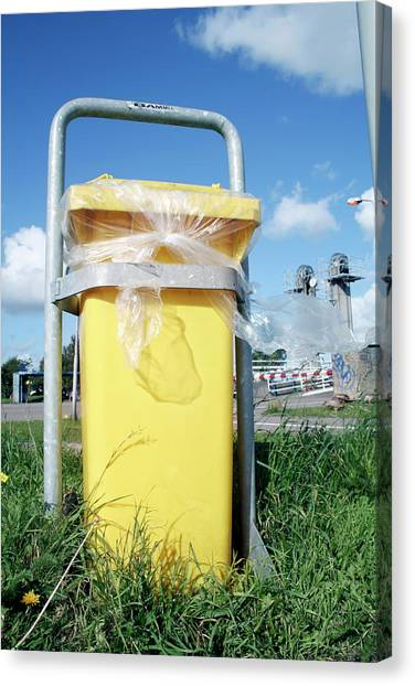 Rubbish Bin Canvas Print - Litter Bin by Chris Martin-bahr/science Photo Library
