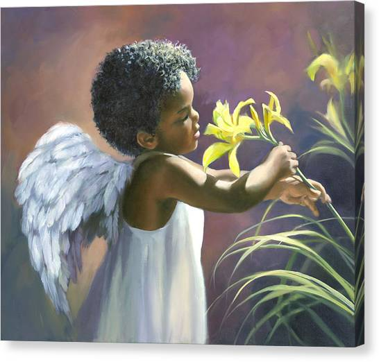 Angel Canvas Print - Little Black Angel by Laurie Snow Hein