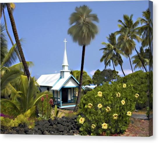 Little Blue Church Kona Canvas Print
