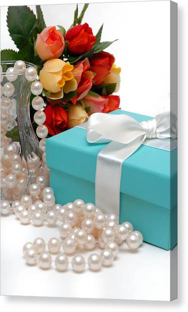 Bow Canvas Print - Little Blue Gift Box With Pearls And Flowers by Amy Cicconi