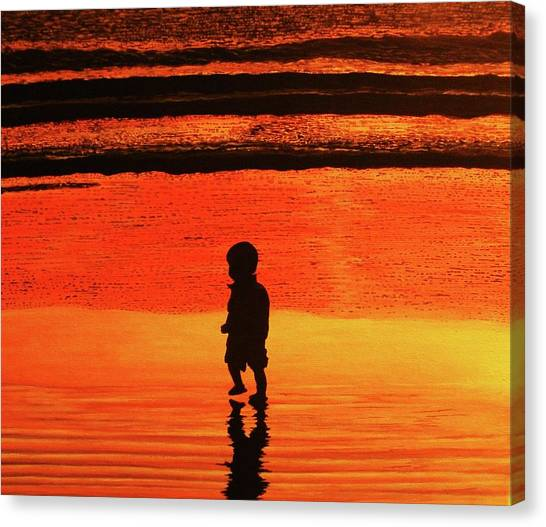 Little Boy At The Beach Canvas Print