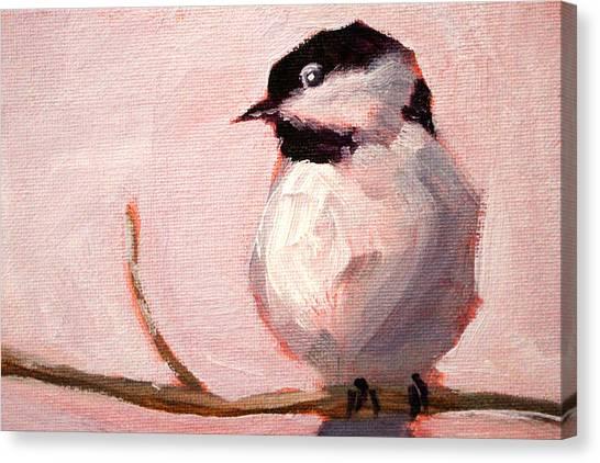 Chickadees Canvas Print - Little Chickadee by Nancy Merkle