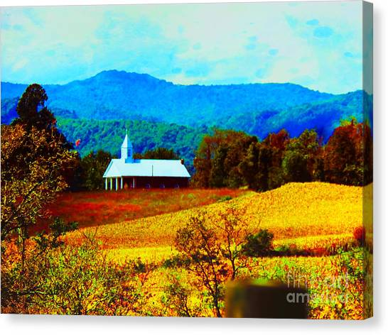 Little Church In The Mountains Of Wv Canvas Print