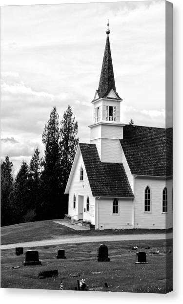 Little Church On The Hill Canvas Print by Marv Russell