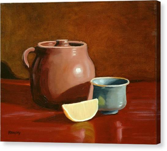 Little Clay Pots And Lemon Canvas Print by Daniel Kansky