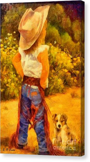 Little Cowgirl Canvas Print