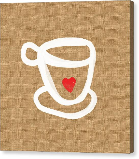 Coffee Canvas Print - Little Cup Of Love by Linda Woods